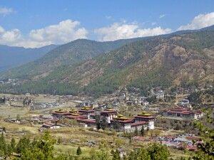 Blick auf den Dzong in Thimphu
