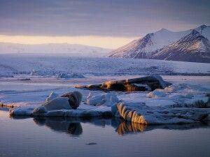 Gletscherlagune im Abendlicht