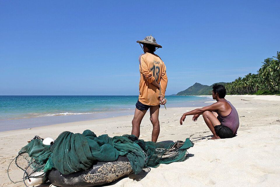 Fischer am Strand von Ngapali