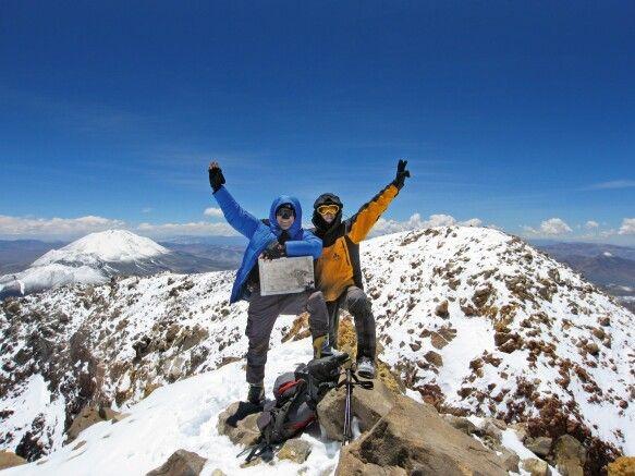 Höchste Glücksgefühle auf dem Gipfel des Ojos del Salado, 6893m.