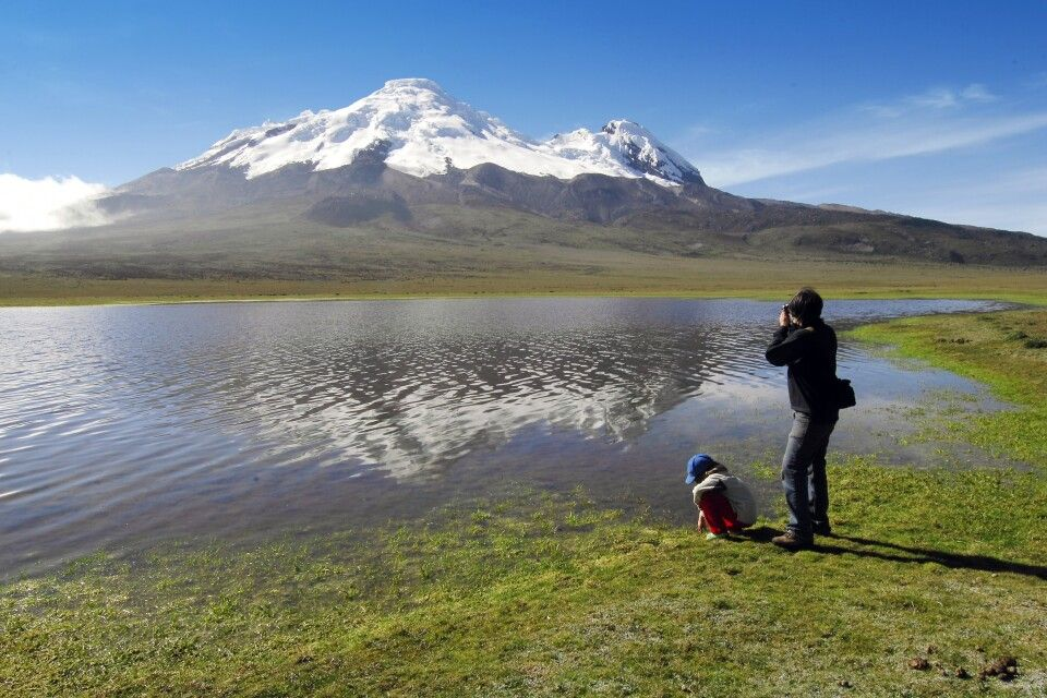 Blick zum höchsten Berg Ecuadors, dem Chimborazo.