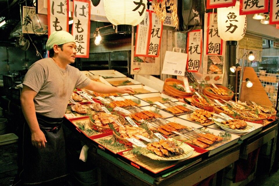 Fischhändler in Kyoto