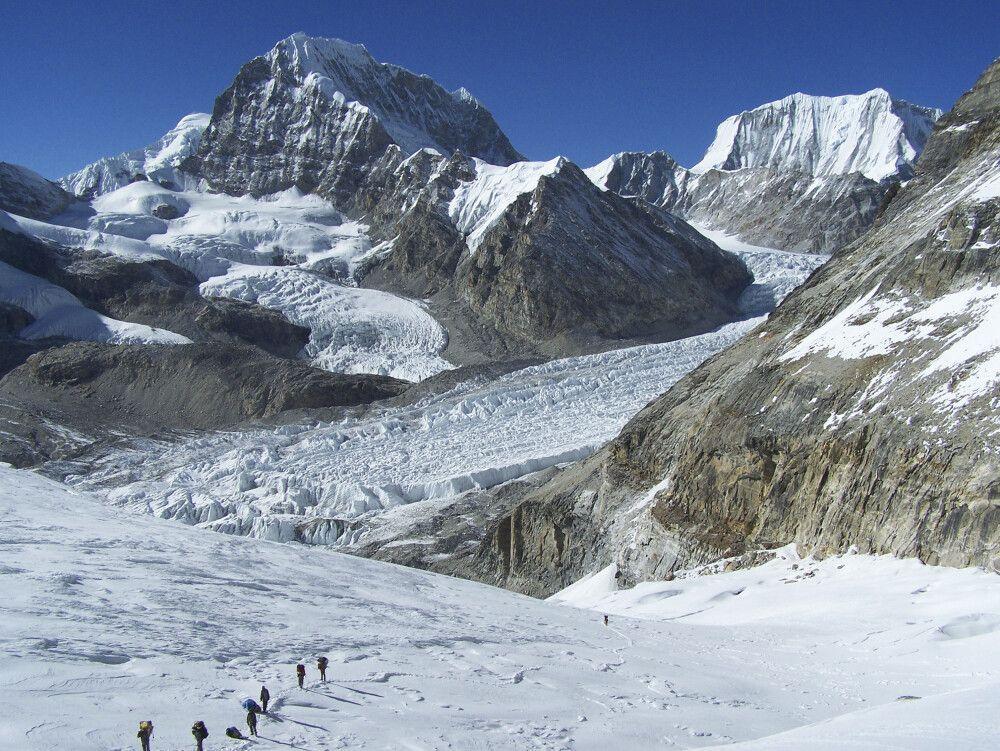 Gletscherpassagen auf dem Weg zum Trashi Lhabtsa.