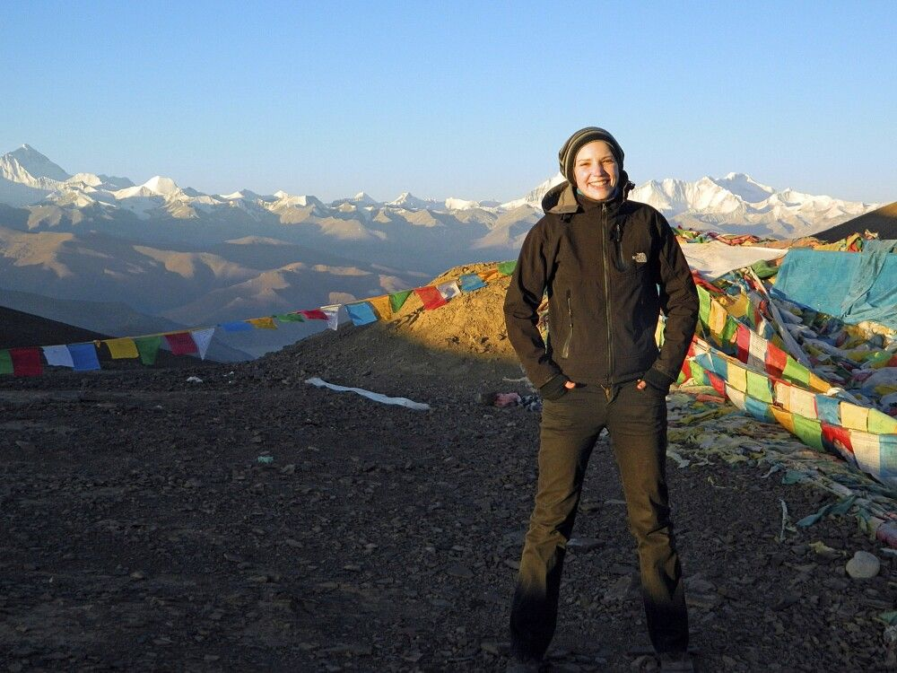 Blick vom Pang-La-Pass (5120 m) zum Everest und Cho Oyu