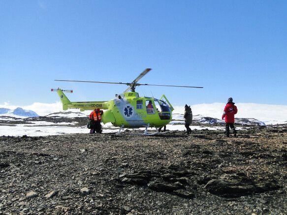 Helikopterlandung in der Antarktis
