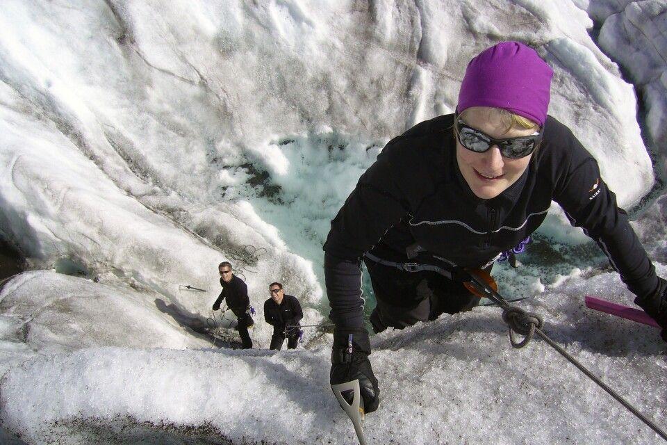Im Eis kann es auch mal steiler zugehen.