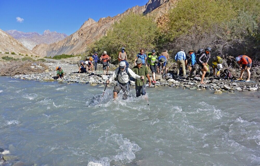 Erste (tiefste) Flussquerung von Skiu nach Markha