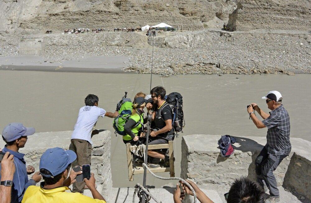 Markha Valley Trek, Zanskar River bei Chilling, Seilbahn