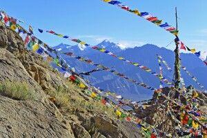 Leh, Blick vom Tsenmo-Hügel übers Indus-Tal zum Stok Kangri