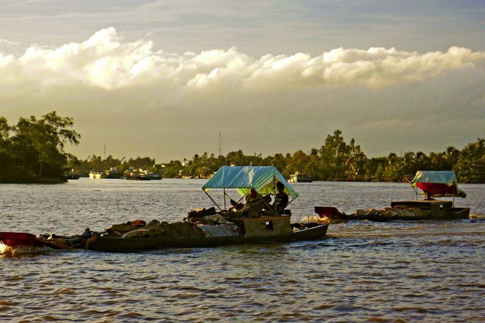 Im Abendlicht im Mekongdelta
