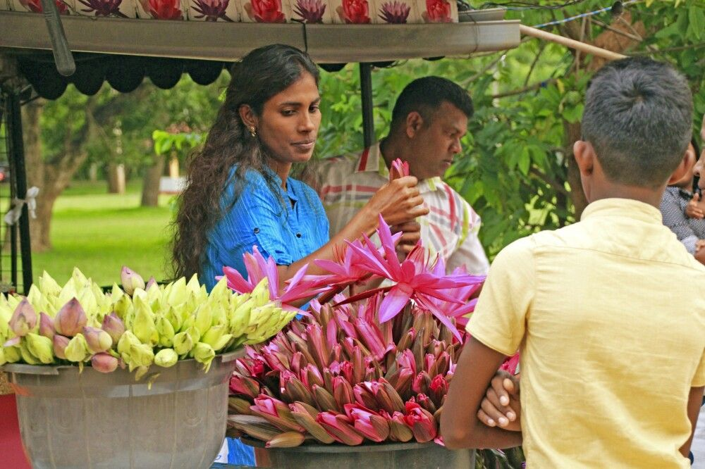 Blumenverkäufer am Tempel von Kataragama