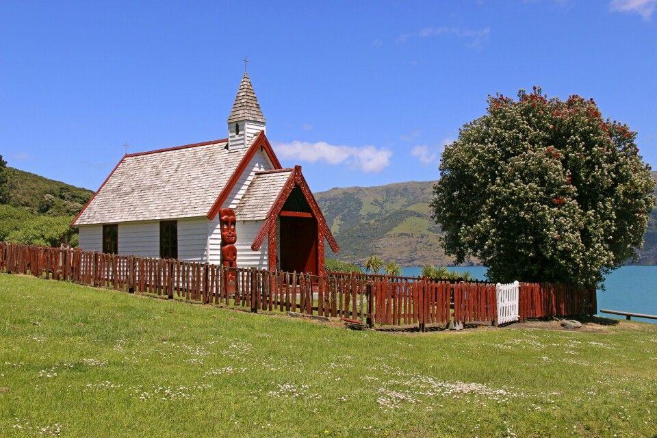 Maori-Kirche auf der Banks Peninsula nahe Christchurch.