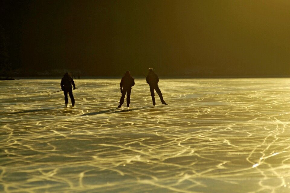 Eislaufen in goldenem Licht