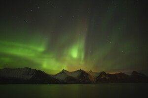 Nordlicht über nächtlichem Norwegen