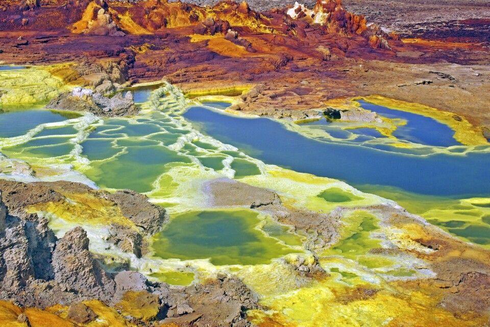 farbenprächtige Caldera, Dallol Vulkan
