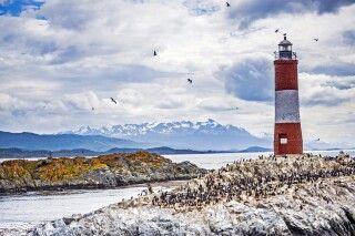 Les Eclaireurs Leuchtturm mit der Kormorankolonie im Beagle-Kanal