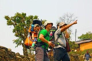 Trekkingtouristen in der Annapurna-Region