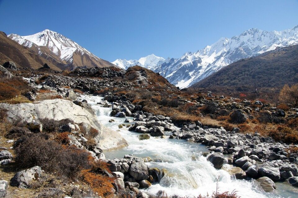 Zwischen dem Tsergo Ri und Kangchenpo fließt der Langtang Khola hinab ins Tal.