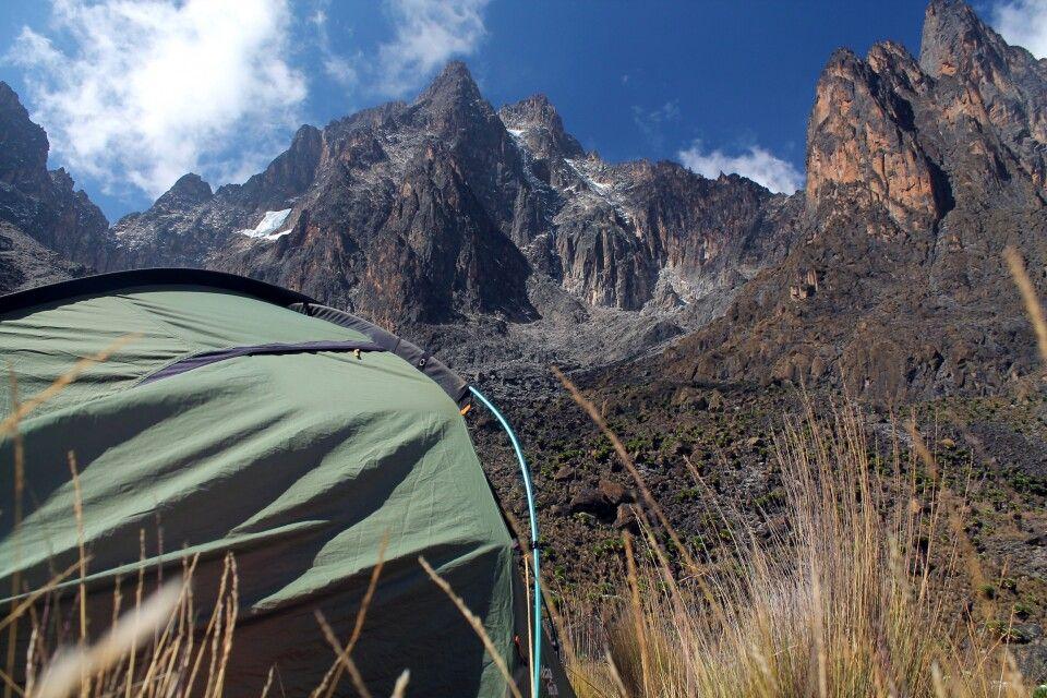 Blick auf Batian und Nelion, Mount Kenya