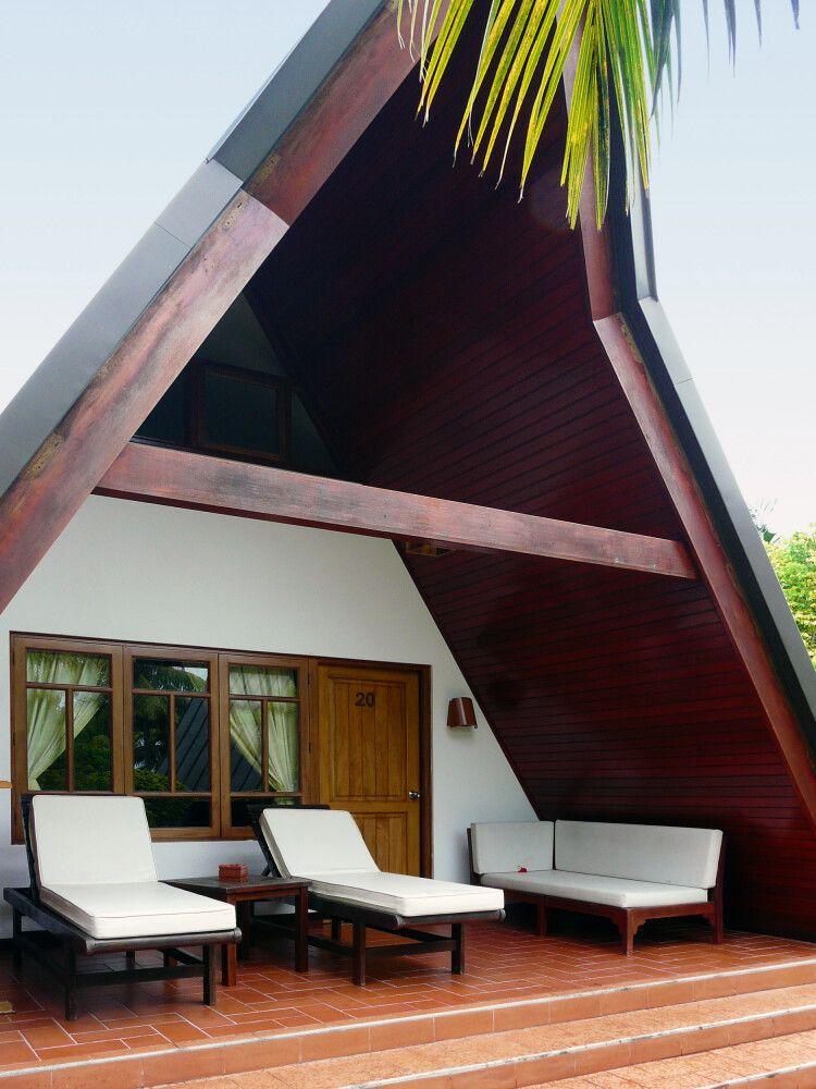 Die Terrasse von einer Villa von dem La Digue Island Lodge