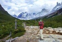 Ein Fotograf im Französischen Tal, Nationalpark Torres del Paine