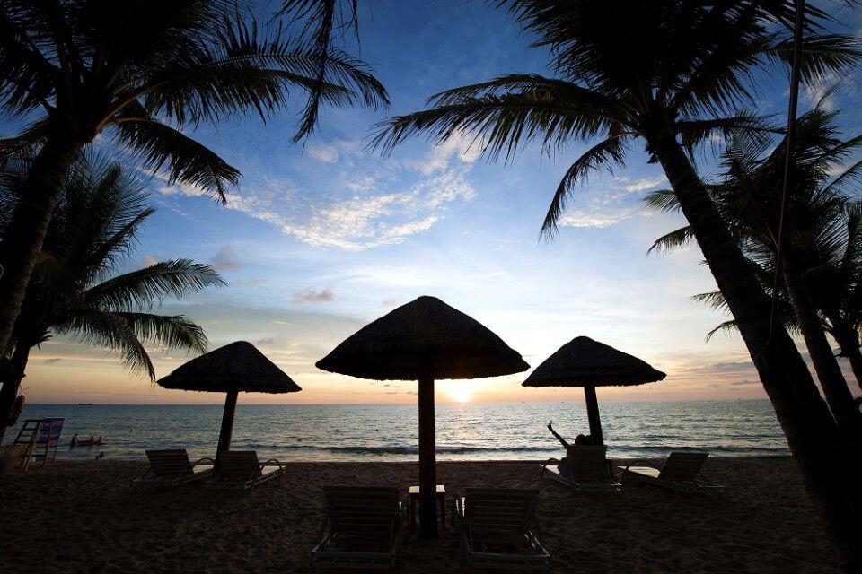 Der Strand beim Sonnenuntergang