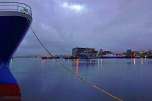 Winterlicher Hafen in Reykjavík
