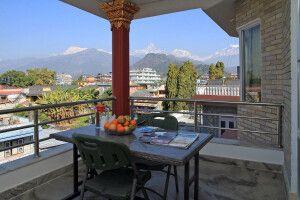 Ausblick vom Balkon im Hotel Milarepa