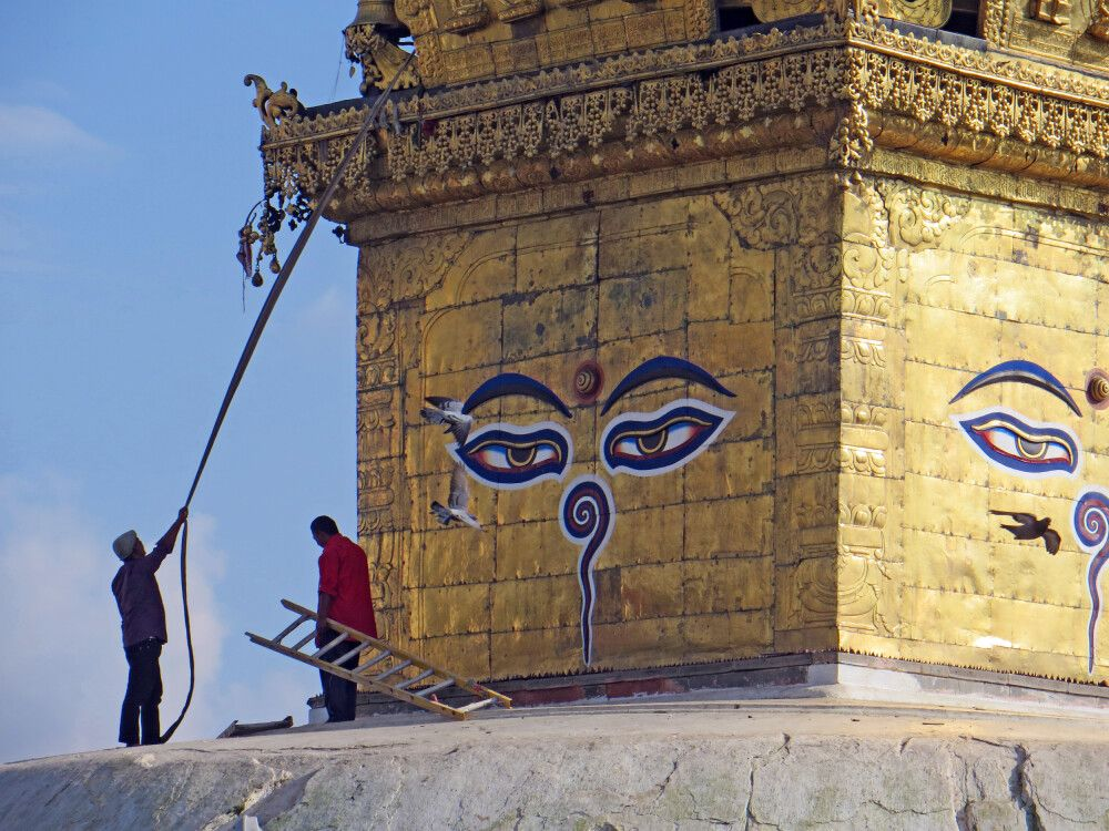 Restaurationsarbeiten in Swayambhunath