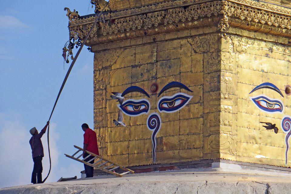Restaurationsarbeiten in Swayambunath