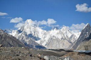 Blick zu den Gipfeln Gasherbrum IV bis VII.