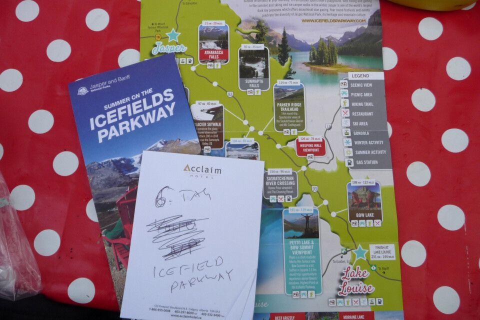Vorbereitung auf die Fahrt auf dem Icefield Parkway