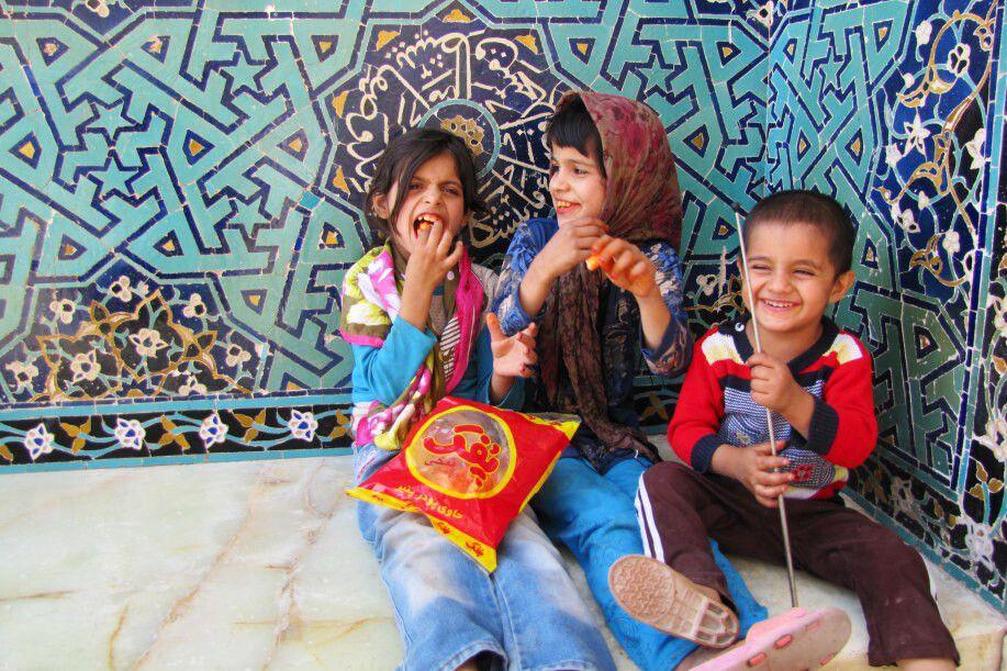 Yazd: Kinder vor Jame-Moschee