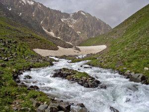 Alam Kuh - Entlang eines Wildbaches führt der Weg hinauf das Plateau der 4000er.
