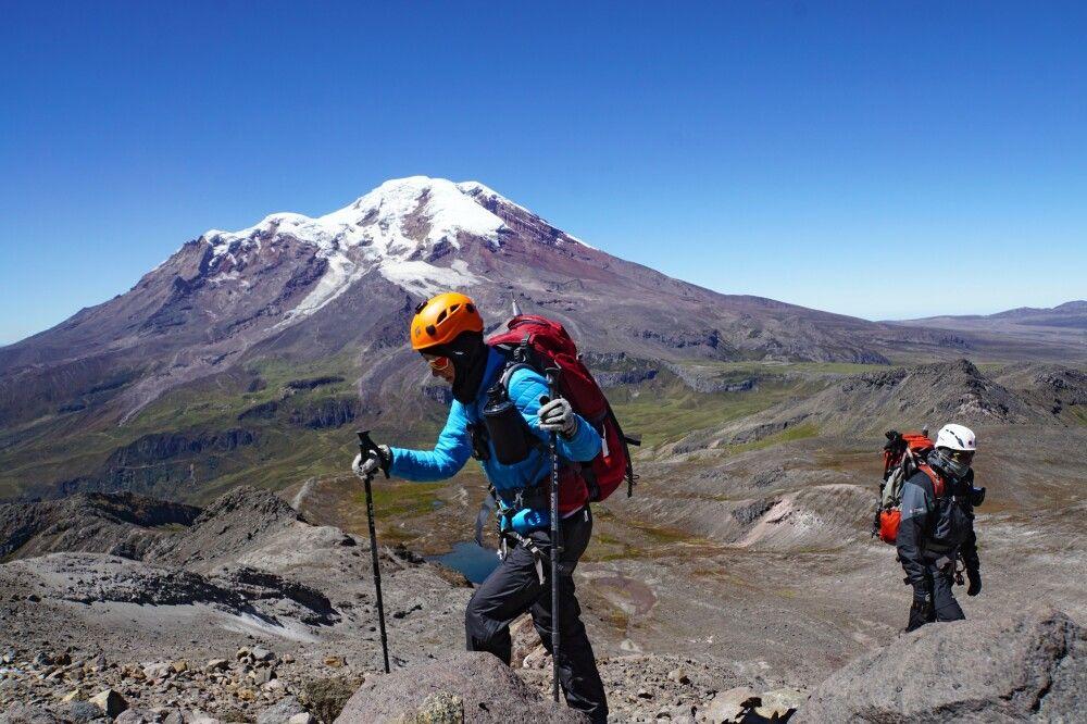 Aufstieg am Carihuayrazo mit Traumblick zum Chimborazo