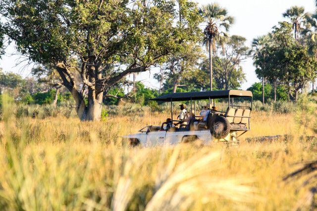 Safarifahrzeug im Okavango-Delta