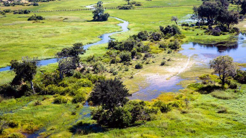Luftaufnahme vom Okavango-Delta © Diamir