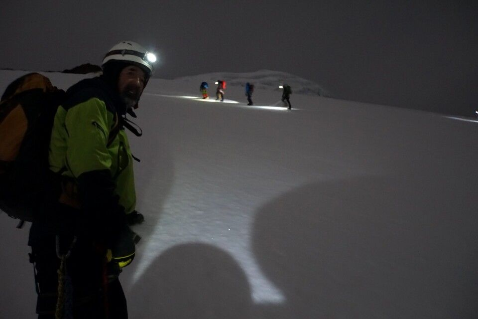 Der Gipfel des Cayambe (hier auf ca. 5000 m) wird nachts bestiegen