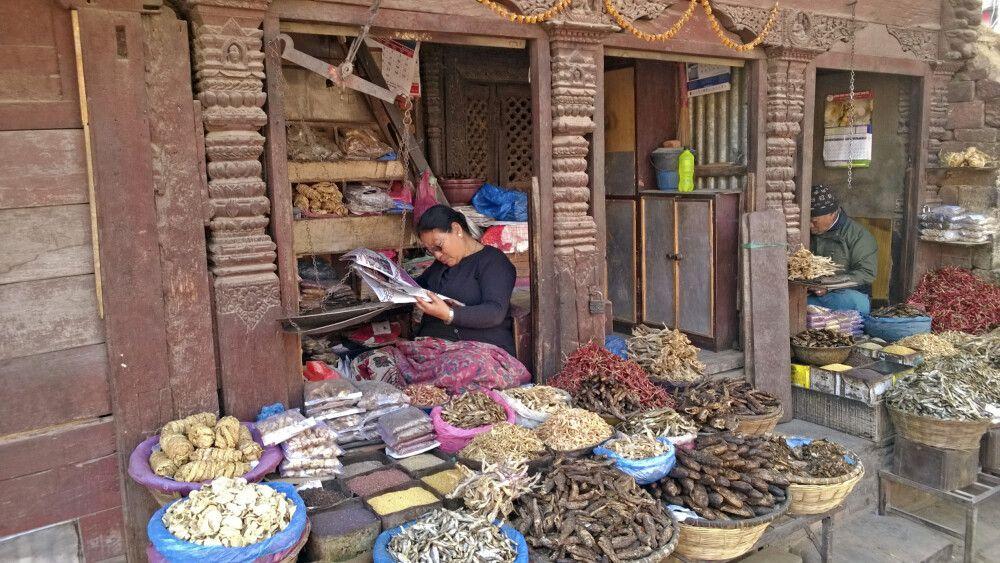 Marktstand in der Altstadt von Kathmandu