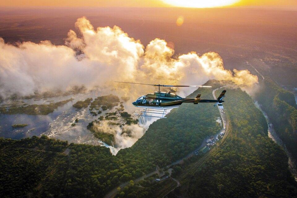 Helikopterflug über die Victoriafälle