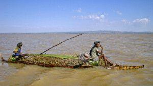 Traditionelles Schilfboot auf dem Tana-See