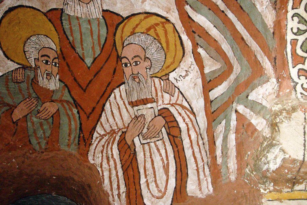 religöse Wandzeichungen in einer Kirche