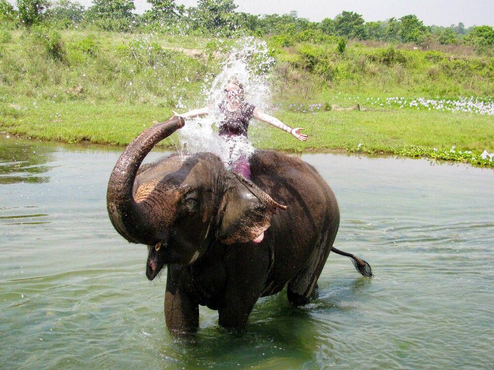 Bad mit Elefanten im Chitwan-Nationalpark