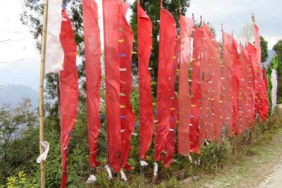 rote Fahnen im Wind