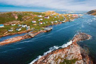 Luftansicht von Battle Harbour, Labrador