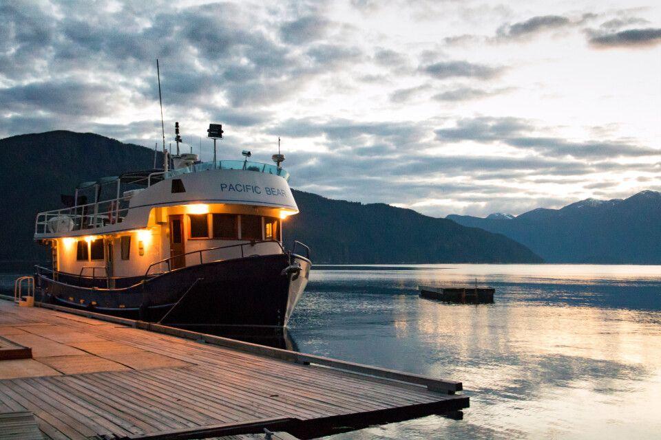 Pacific Bear, Küstenkreuzfahrtschiff am Dock der Homfray Lodge