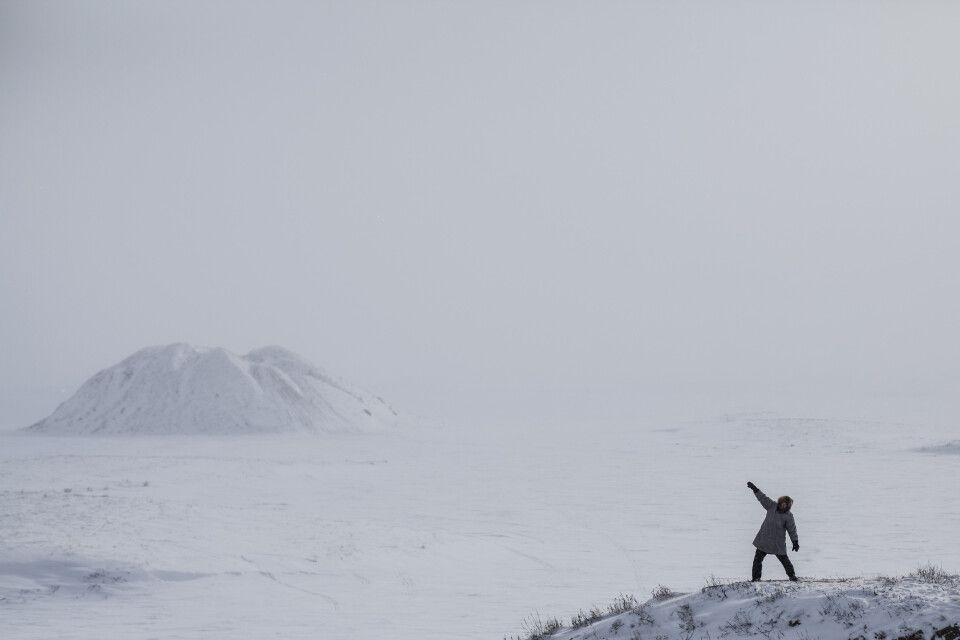 Blick vom winterlichen Tuktoyaktuk auf die markanten Pingos