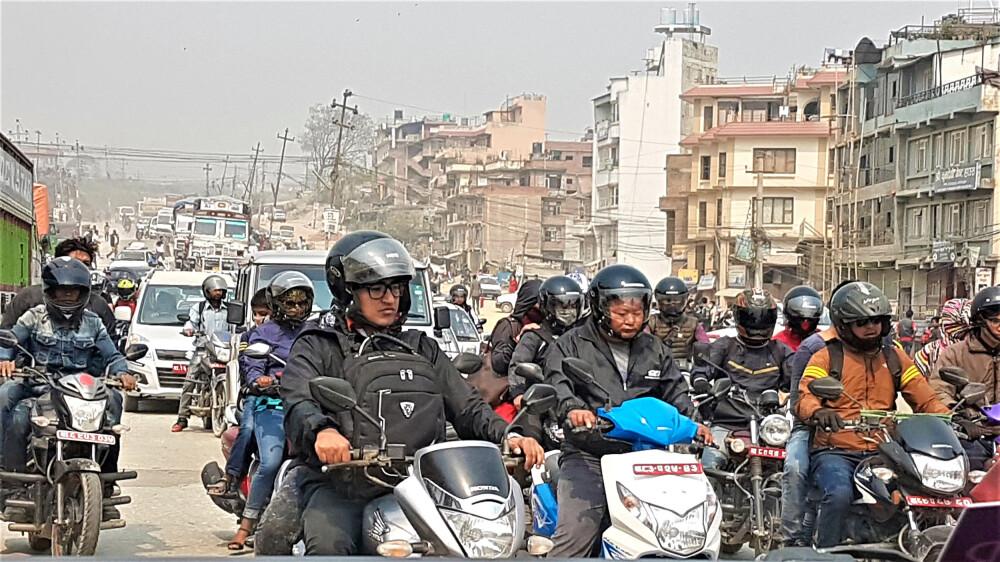 Verkehrschaos Kathmandu
