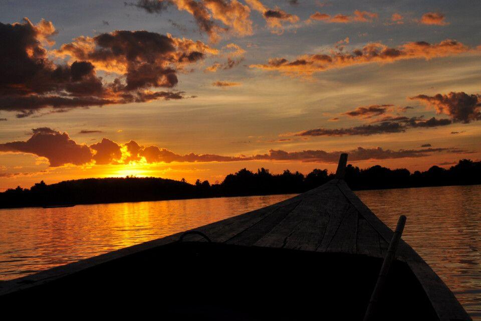 Sonnenuntergang über dem Mekong
