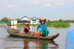 Händlerin auf dem Tonle Sap in Kambodscha